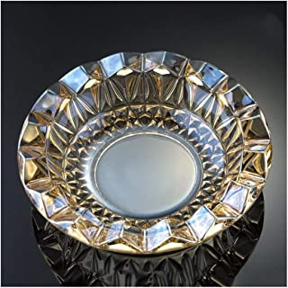 Crystal Glass Ashtray European Ashtray Home Living Room Coffee Table Office Internet Cafe (Color : Clear)