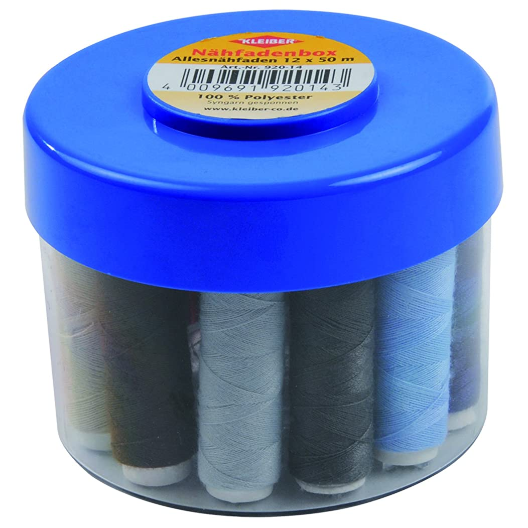 Kleiber Set of 12 Polyester Sewing Threads-50 Meters per Thread with Storage Box