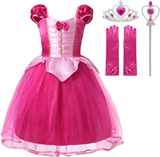 Muababy Baby Girl little Princess Snow Belle Little Mermaid Anna Cinderella Rapunzel Party Tutu Dress with Accessories
