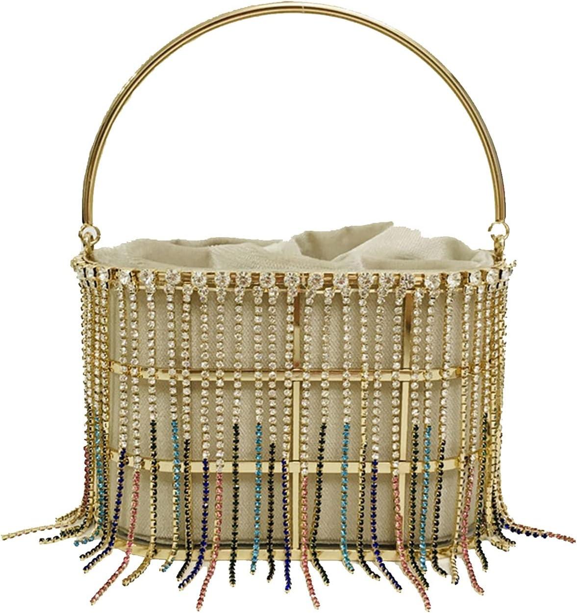 Evening Bag Pearl Women's Luxury Party Handbag Diamonds Clutch Bag Cocktail Evening Bag Openwork Basket Design (Color : Beige, Size : Small)