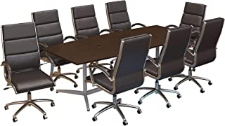 Bush Business Furniture 96W x 42D Boat Shaped Conference Table with Metal Base and Set of 8 High Back Office Chairs in Mocha Cherry