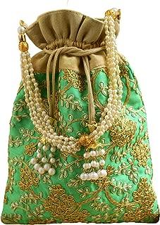 GiftPiper Embroidered Raw Silk Potli/Batua- Green