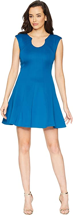 Fit & Flare Seamed Scuba Dress