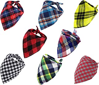 MEINSN Dog Bandanas Washable Reversible Triangle Classic Plaid Printing Kerchief Cute Head Scarf Accessories Suitable for pet Puppy or Cat (8pack)