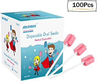 Disposable Oral Swabs, Individually Wrapped Mouth Swabs Sponge, MELONSUN Dental Swabsticks Unflavored Sterile (people and pets) (100PCS, pink)