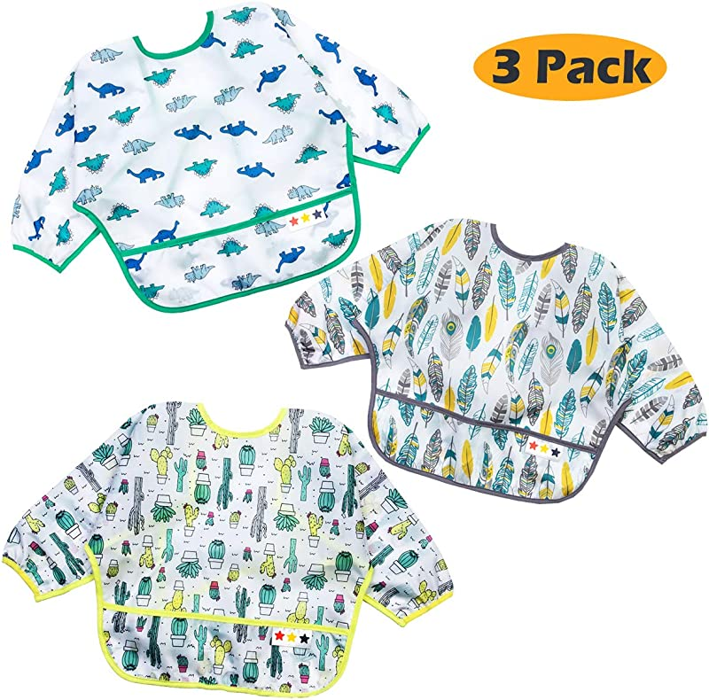 Long Sleeved Baby Bibs 6 24 Months Waterproof Bibs For Babies Unisex 3 Pack Full Coverage Apron Bib Smock Toddler Bibs With Pocket Washable Stain And Odor Resistant Cactus Dinosaur Feather