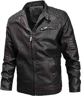 Men's Band Collar Full Zip Fleece Lined Slim Distressed Faux Leather Moto Jacket