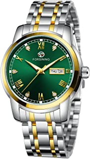 FORSINING Mens Automatic Watch Date Window Display Stainless Steel Watch