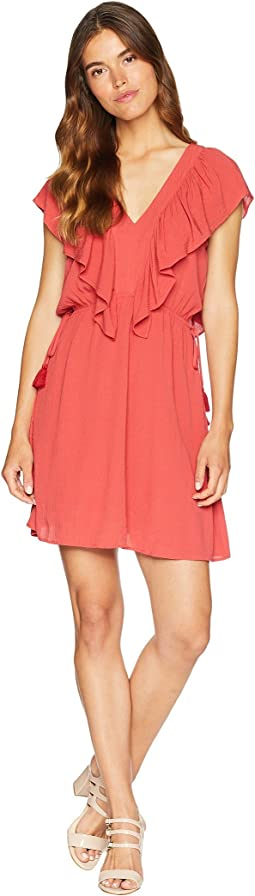 V-Neck Ruffle Edge Dress with Ties