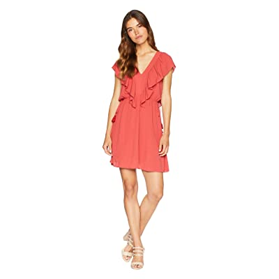 1.STATE V-Neck Ruffle Edge Dress with Ties (Spice) Women