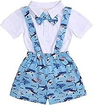 Newborn Baby Boys Outfits Bowtie Romper+Shark Suspenders Shorts Gentleman Clothes Set