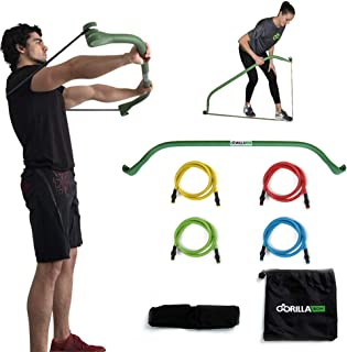 Gorilla Bow Portable Home Gym Resistance Bands and Bar System for Travel, Fitness,..