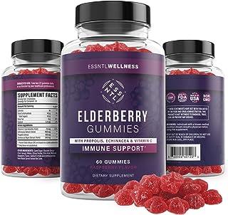 Elderberry Gummies - Natural Immune System Defense Supplement for Men and Women - Sambucus Nigra Extract with Vitamin C, P...