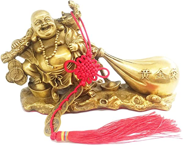 Fengshui Products Laughing Buddha Statues Buddha Sculptures Maitreya Carrying Money Bag For Attracting Wealth 8 3 Inches