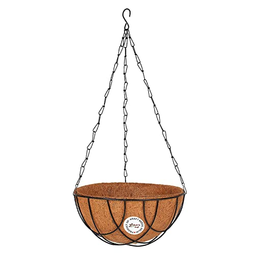 """Kraft Seeds Coir Basket Hanging - 12"""" Full with Stand and Chain"""