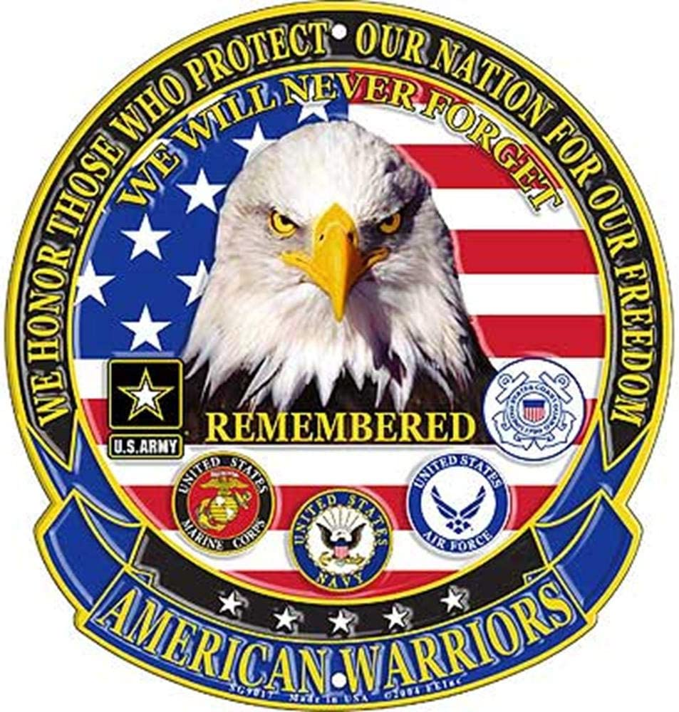 EagleEmblems SG9017 Sign-American Warriors Denver Mall Multicolor 12'' Online limited product