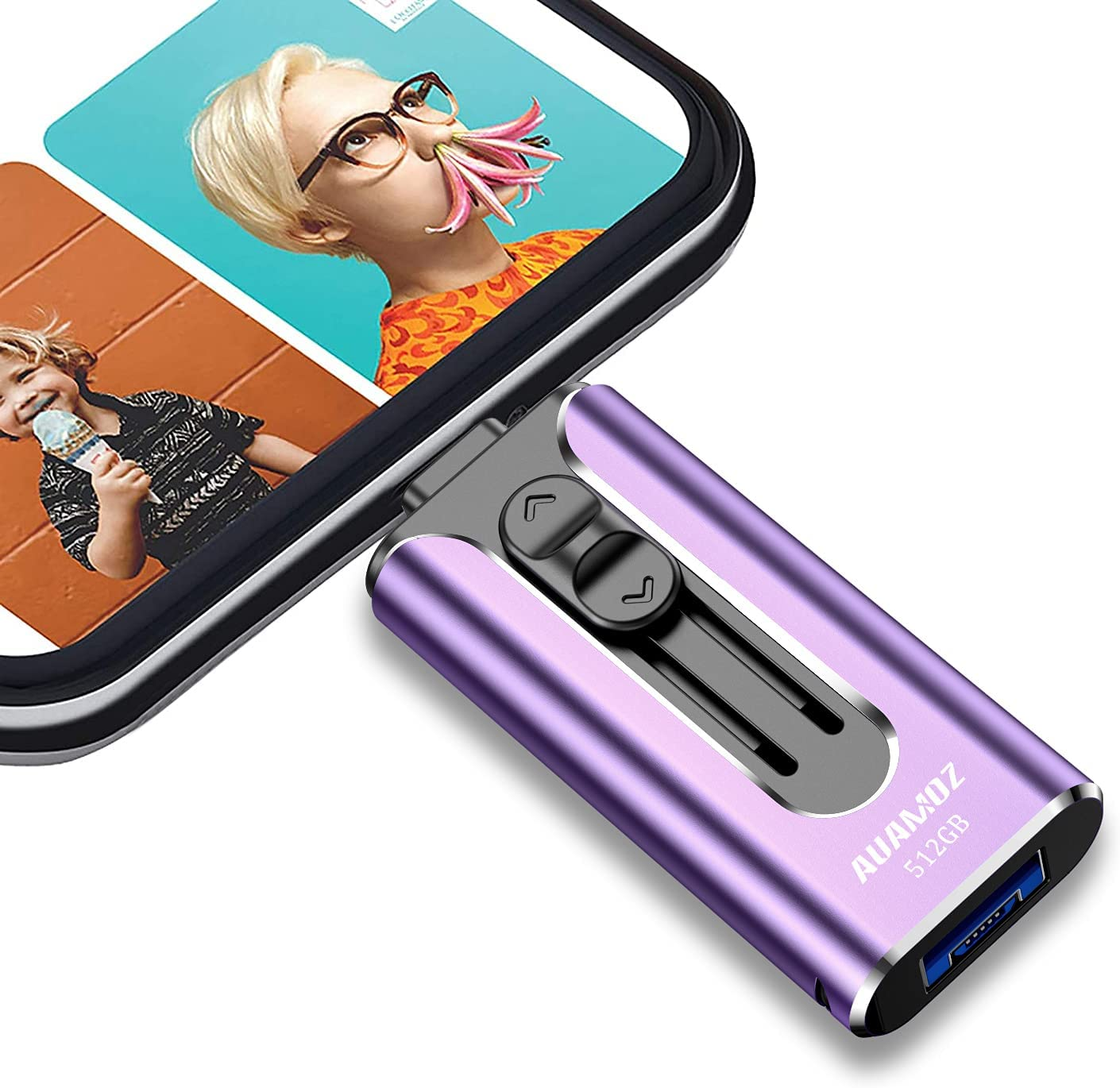 USB 3.0 Flash Drives 512GB, AUAMOZ USB Stick Memory Drive Photo Stick 512GB Compatible with Phone/Android/Computer for Storage and Backup (Purple)