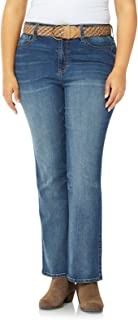 WallFlower Women's Plus Size Classic Fit Belted Stretch Legendary Bootcut Jeans