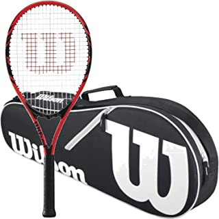 Wilson Federer Black/Red Adult Pre-Strung Recreational Tennis Racquet (Oversize or Midplus) Starter Kit or Set Bundled with a Black/White Advantage II Tennis Racket Bag