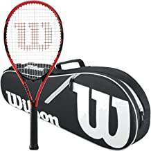 Wilson Federer Black/Red Adult Pre-Strung Recreational Tennis Racquet (Oversize or Midplus) Starter Kit or Set Bundled with a Black/White Advantage II Tennis Racket Bag