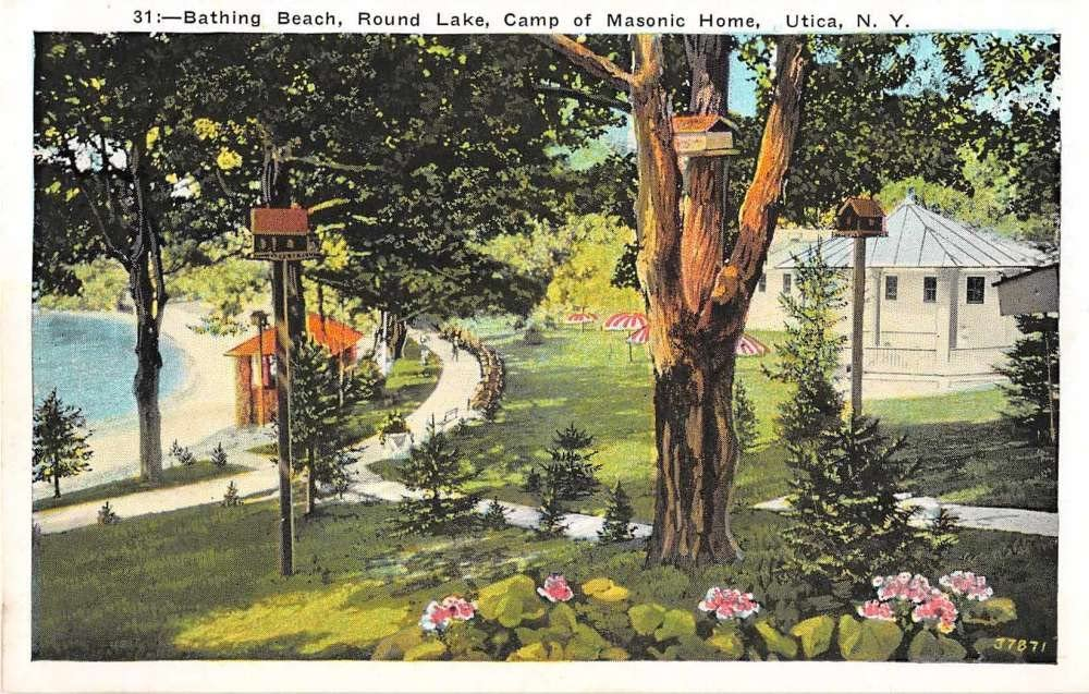 Utica New York Round Lake Masonic Home J55 Camp Postcard Rapid rise Sales Antique