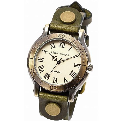 224c5d8c1e 【リトルマジック】アンティーク 風 腕時計 メンズ レディース イタリアンレザー 革ベルト 日本製クオーツ