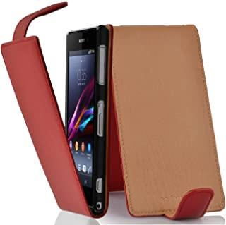 Cadorabo Case Works with Sony Xperia Z1 Compact in Candy Apple RED – Flip Style Case Made of Structured Faux Leather – Wallet Etui Cover Pouch PU Leather Flip