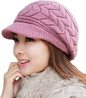 Vocanbomor Women Winter Hat Warm Knit Wool Hats Fleece Lined Snow Ski Visor Caps