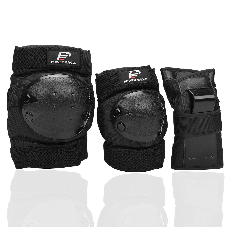 Power Eagle 大人用膝パッド肘パッドと肘手首プロテクターの用途: スクーター、スケートボード、自転車、スノーボード、インラインスケート、ローラースケート安全保護