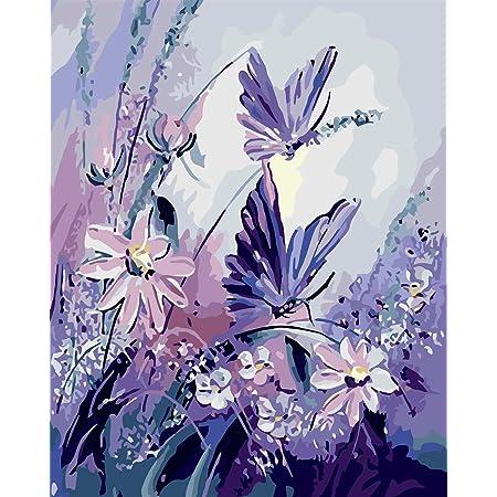 VIKMARI Kits de pintura por números para adultos de 40,6 x 50,8 cm para pintura de lienzo por números, kits de pintura para principiantes por números, flores y mariposas sin marco