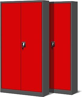 Jan Nowak by Domator24 Set de 2 Armoire de Bureau XL Métallique C001H 4 Etagères Tôle d'acier Portes Battantes Verrouillab...