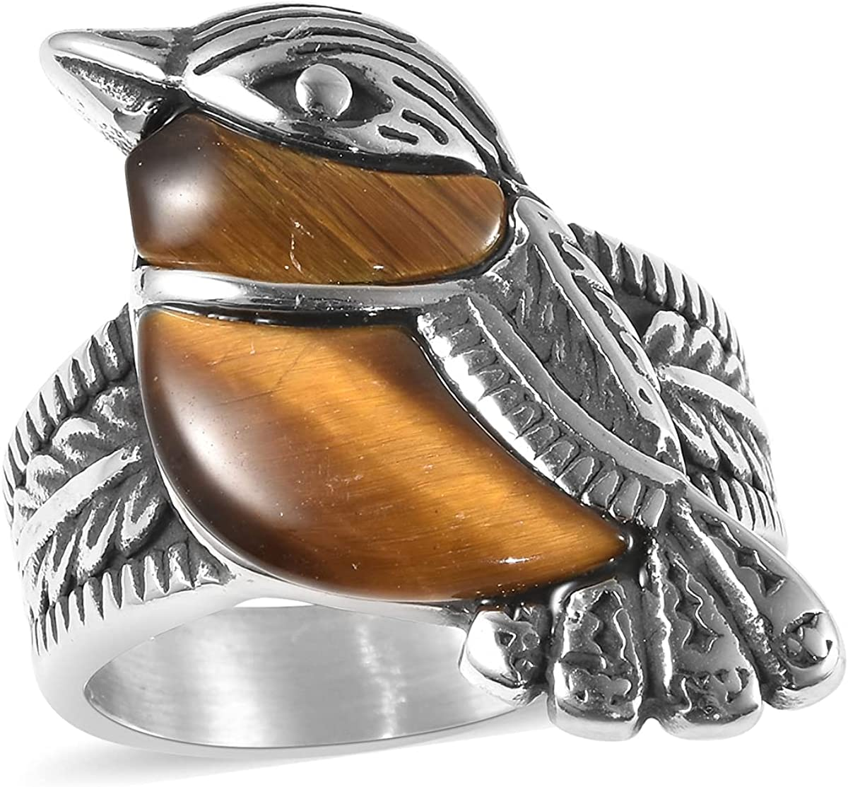 Shop LC Stainless Steel Yellow Tigers Eye Sparrow Bird Cute Statement Ring Costume Stylish Unique Jewelry for Women