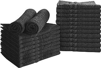 Utopia Towels Cotton Bleach Proof Salon Towels (24-Pack, Black,16 x 27 inches) - Bleach Safe Gym Hand Towel