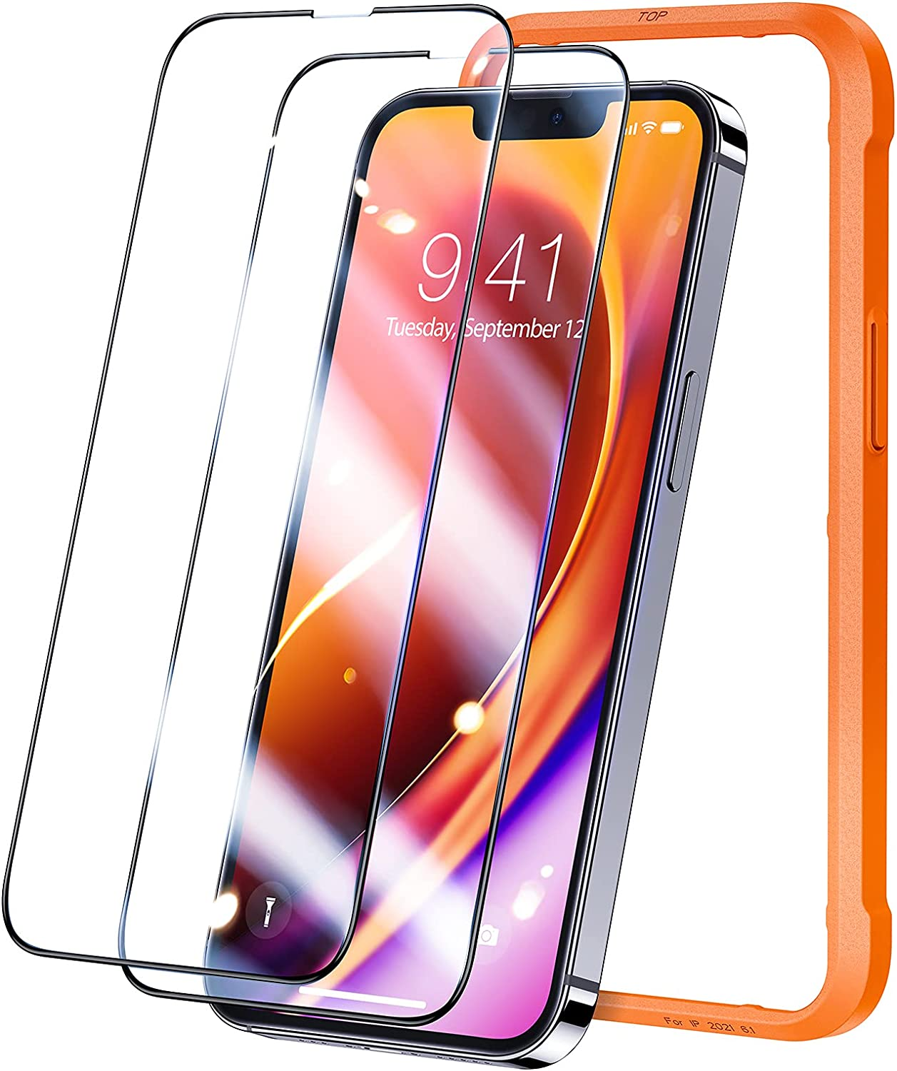 TORRAS Diamonds Hard for iPhone 13 Screen Protector, iPhone 13 Pro Screen Protector, [Military Grade Shatterproof] [Eye Protection] Tempered Glass Film 6.1''-2 Pack