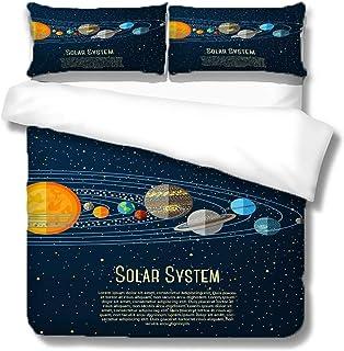 WYWYCT 4 Piezas Juego De Funda Nórdica Sistema Solar Cósmico 135 * 200Cm Juego De Cama, Juego De Edredón 3D Colcha Estampado, Cómodo Y Suave, Funda De Almohada Sábana Decoración