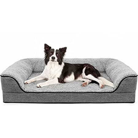 """Orthopedic Dog Bed for Large Dogs, Washable Pet Sofa Bolster Bed with Removable Cover & Waterproof Liner, 35"""" Large Dog Beds for Dogs Under 45 lbs"""