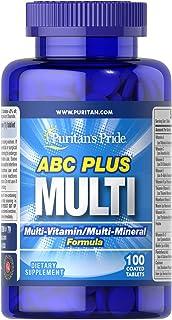 Puritan's Pride ABC Plus Multivitamin and Multi-Mineral Formula-100 Caplets
