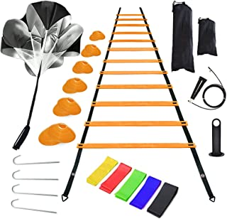 Agility Ladder Speed Training Equipment, Includes 12 Rung Agility Ladder, Jump Rope, Resistance Bands, Running Parachute, ...