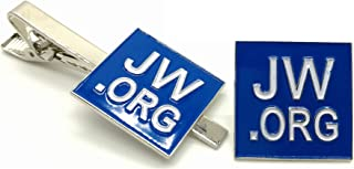 Jehovahs Witness-jw.org Gift Necktie Clip and Lapel pin Set-Square -with JW.ORG Logo Gift Box-Silver