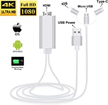 ZAMO 3-in-1 USB C Type C/Micro USB to HDMI Adapter Cable, Digital HD 1080P HDMI Cable,Mirror Mobile Phone Screen to TV Projector,Compatible with S8/9 Note 8/9 and More