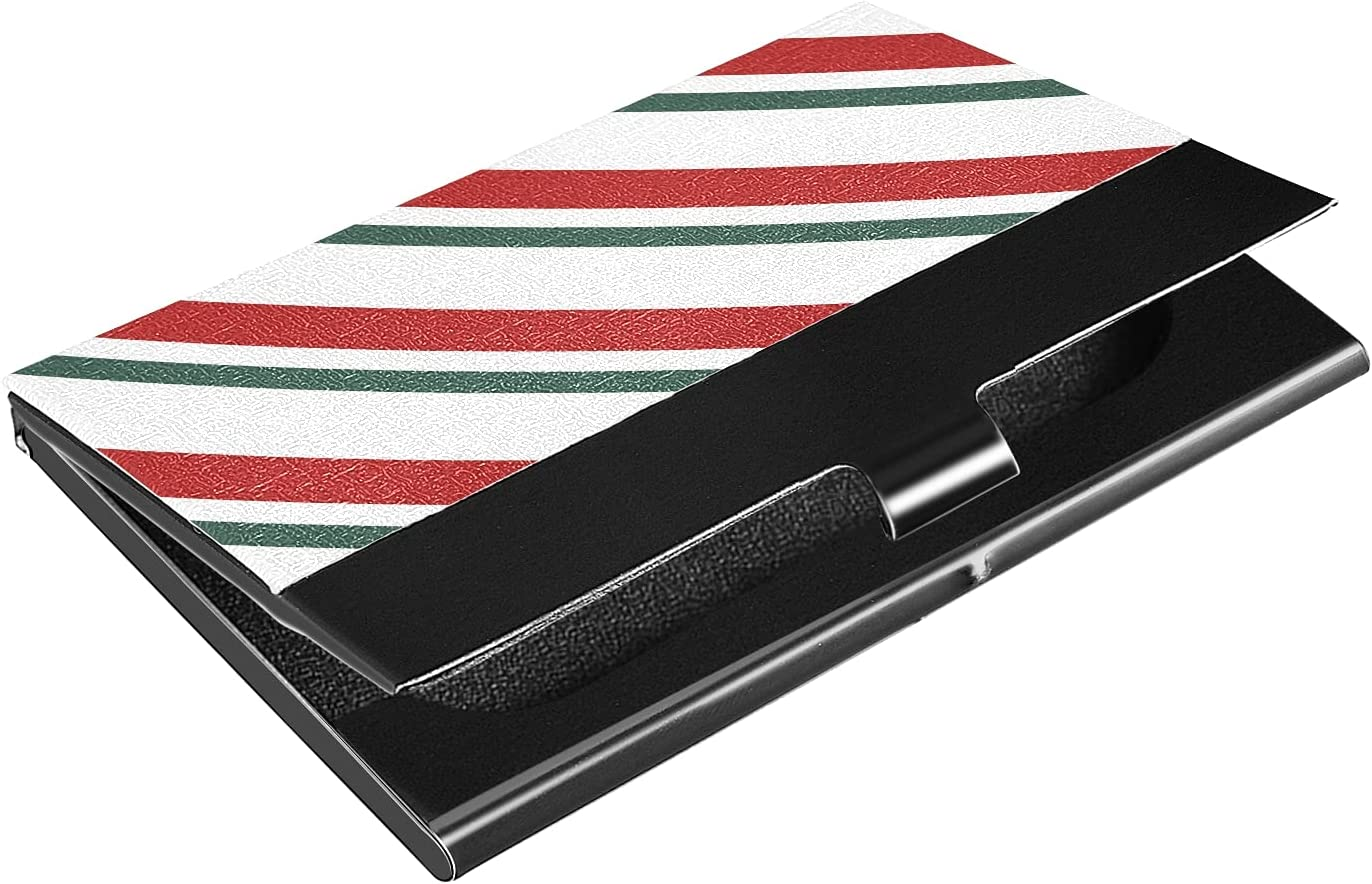 OTVEE Red Green Stripes Business Card Holder Wallet Stainless Steel & Leather Pocket Business Card Case Organizer Slim Name Card ID Card Holders Credit Card Wallet Carrier Purse for Women Men