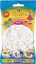 Hama Perlen 207-01 Bügelperlen Beutel mit ca. 1.000 Midi Bastelperlen mit Durchmesser 5 mm in weiß, kreativer Bastelspaß für Groß und Klein