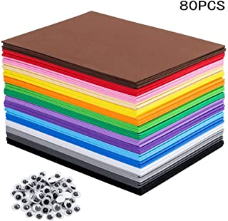 EVA Foam Sheets Great for Craft Projects with Kids DIY Projects Classroom Parties and More (80 Sheets 16 Colors - 8.25 x 5.8 inches)