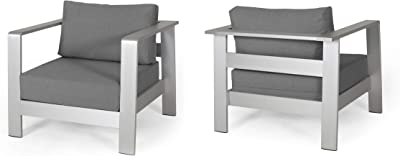 Laraine Outdoor Aluminum Club Chairs with Cushions (Set of 2) - Silver and Gray