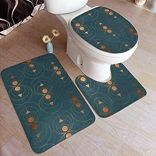Copper Art Deco On Emerald Bathroom Rug Set 3 Pieces, Non Slip Absorbent Bathroom Rug, U-Shaped Toilet Mat, Elongated Toilet Lid Cover