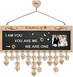 Airelon Wedding Gifts for The Couple, Changeable Letter Board Wooden Anniversary Handmade Reminder Plaque DIY Wood Crafts Calendar Board for Female Friends Wife Creative Gift for Home Office (Black)
