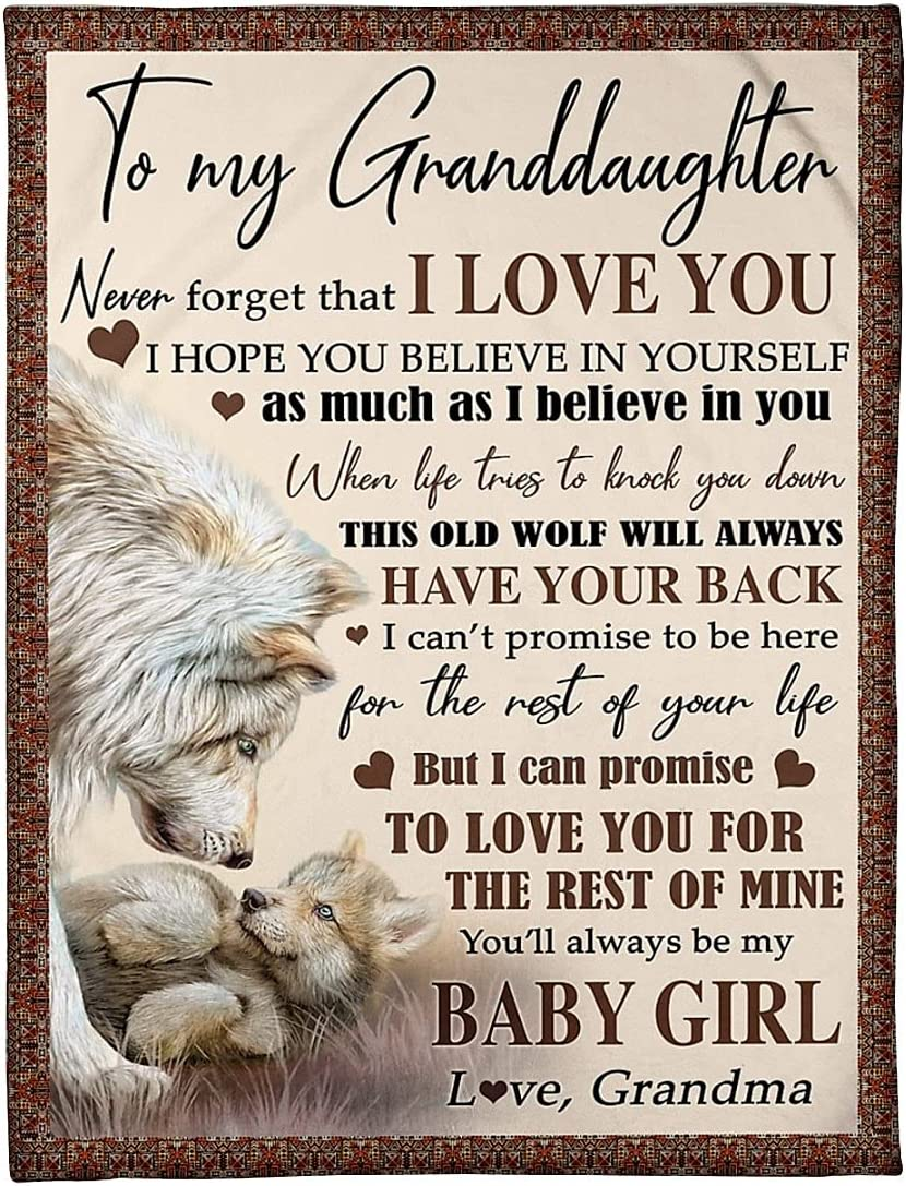 New mail order Funny Wolf Blanket for Granddaughter I Grandma Believe from Ranking TOP14 in