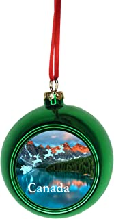 Rosie Parker Inc. Santa Klaus and Sleigh Riding Over The Canadian Rockies, Canada Bauble Christmas Ornaments Green Bauble Tree Decoration Ball