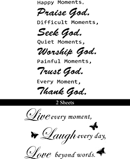 2 Sheets Inspirational Wall Quotes Decals Praise God Wall Quotes Stickers Vinyl Wall Decals DIY Art Sticker Home Decor Wal...