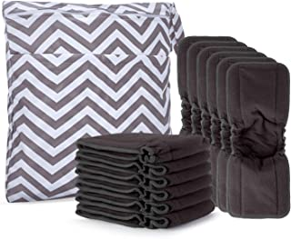 Damero 5-Layer Charcoal Bamboo Reusable Diapers Baby Inserts with Gussets, 12PCS Cloth Diaper Inserts with an Extra Storag...